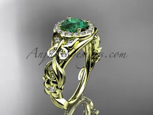 May's Birthstone Yellow Gold Emerald Rings ADEM525