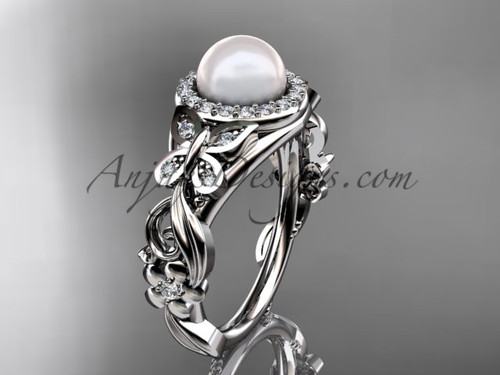 Pearl Engagement Ring 14kt White Gold Butterfly Wedding Ring AP525
