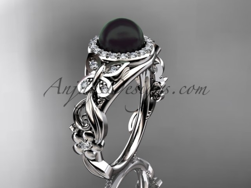 Black Pearl Wedding Rings White Gold Butterfly Ring ABP525
