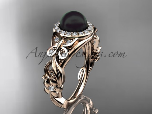 Black Pearl Wedding Rings Rose Gold Butterfly Ring ABP525
