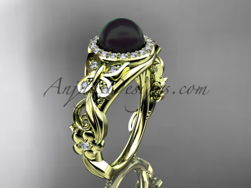 Black Pearl Wedding Rings Yellow Gold Butterfly Ring ABP525