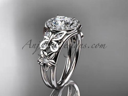 Butterfly Diamond Engagement Rings White Gold Floral Ring ADLR524