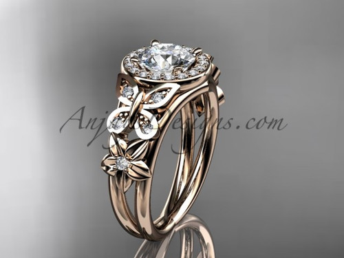 Butterfly Diamond Wedding Ring Rose Gold Floral Ring ADLR524