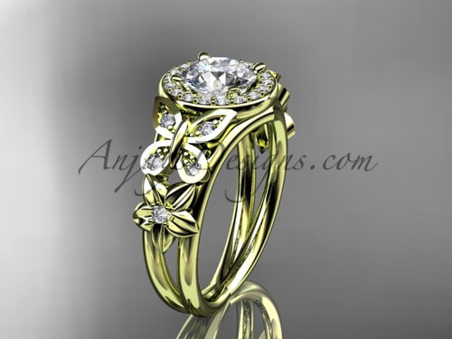 Butterfly Diamond Engagement Rings Yellow Gold Ring ADLR524