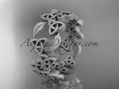 Celtic & Leaf Matte White Gold Wedding Band CT7250B
