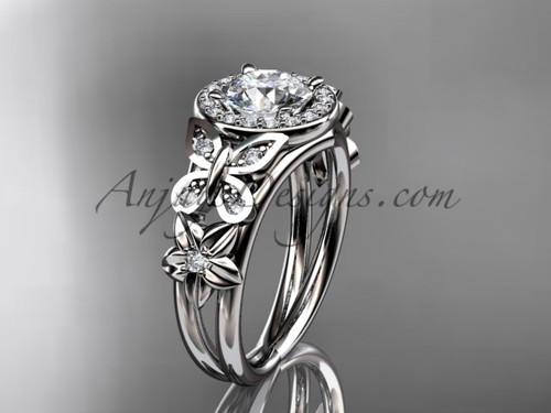 Butterfly Wedding Rings White Gold Flower Ring ADLR524