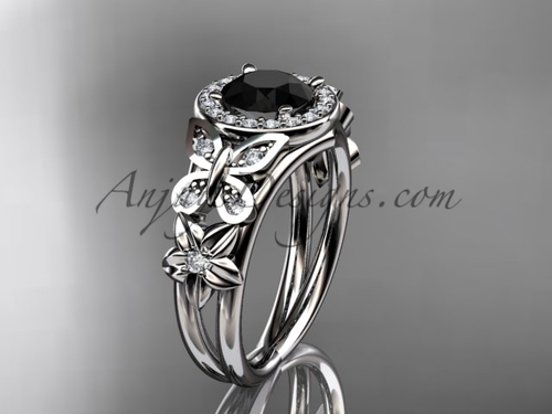 Butterfly Bridal Rings White Gold Flower Ring ADLR524
