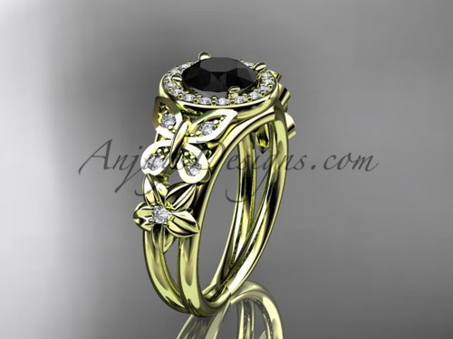 Butterfly Wedding Rings Yellow Gold Flower Ring ADLR524