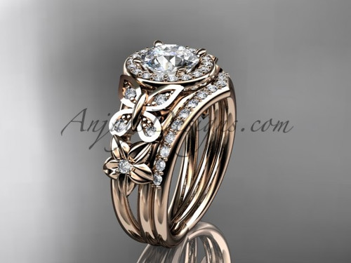 Butterfly Engagement Rings Rose Gold Floral Ring ADLR524S