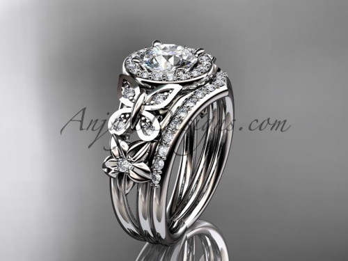 Gorgeous butterfly Bridal rings with diamonds, white gold Halo Engagement Rings ADLR524S