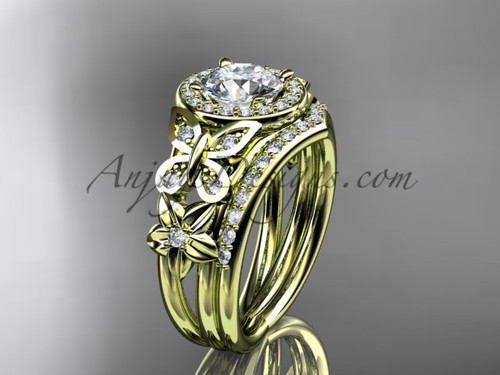 Halo Diamond Ring Sets Yellow Gold Flower Ring ADLR524S