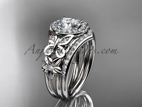 Gorgeous butterfly Bridal rings with diamonds, platinum Halo Engagement Rings ADLR524S