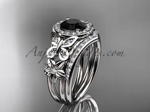 White Gold Flower Halo Black Diamond Wedding Sets ADLR524S
