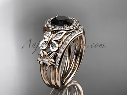 Rose Gold Flower Halo Black Diamond Bridal Ring Set ADLR524S