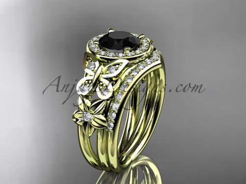 Yellow Gold Flower Halo Black Diamond Ring Sets ADLR524S