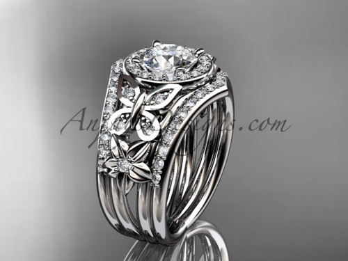 Diamond Double Banded Engagement Rings White Gold Ring ADLR524S