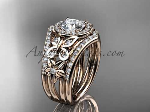 Rose Gold Diamond Double Banded Engagement Rings ADLR524S