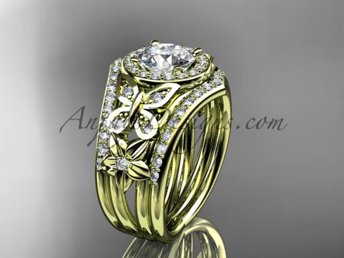 Yellow Gold Diamond Double Banded Engagement Rings ADLR524S