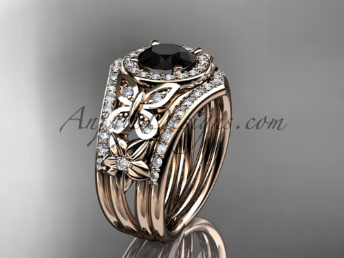 Rose Gold Black Diamond Engagement Ring Double Band ADLR524S
