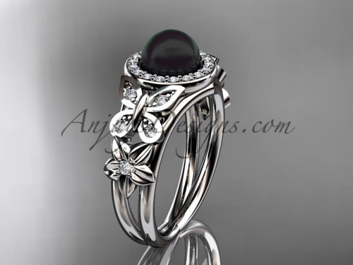 Butterfly Black Pearl and Diamond Rings White Gold Wedding Ring ABP524
