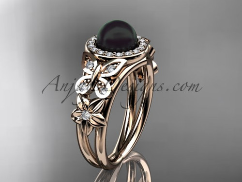 Butterfly Black Pearl and Diamond Rings Rose Gold Wedding Ring ABP524