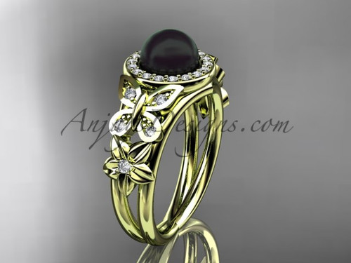 Butterfly Black Pearl and Diamond Rings Yellow Gold Wedding Ring ABP524