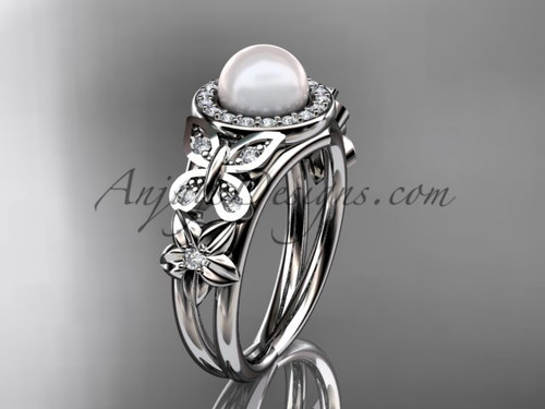 White Gold Pearl and Diamond Rings Butterfly Ring AP524