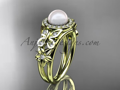 Yellow Gold Pearl and Diamond Rings Butterfly Ring AP524