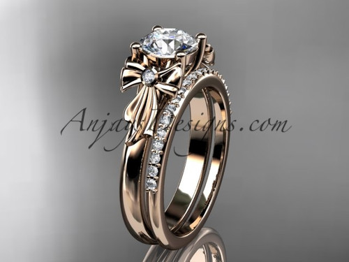"14kt rose gold diamond unique engagement set, wedding ring with a ""Forever One"" Moissanite center stone ADER154S"