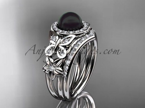 Black Pearl White Gold Butterfly Ring With Diamonds For Female ABP524s