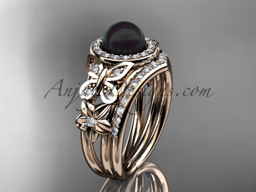 Black Pearl Rose Gold Butterfly Ring With Diamonds ABP524S