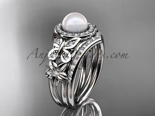 Pearl White Gold Butterfly Ring With Diamonds AP524S