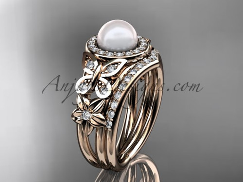 Pearl Rose Gold Butterfly Ring With Diamonds AP524S