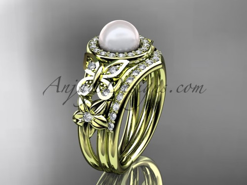 Pearl Yellow Gold Butterfly Ring With Diamonds AP524S