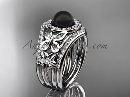 Double Band Engagement Rings Black Pearl White Gold Ring ABP524S