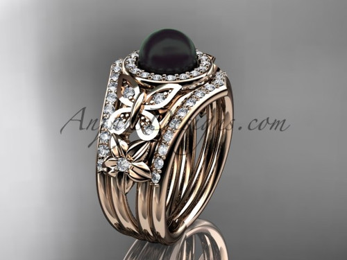 Double Band Wedding Ring Black Pearl Rose Gold Ring ABP524S
