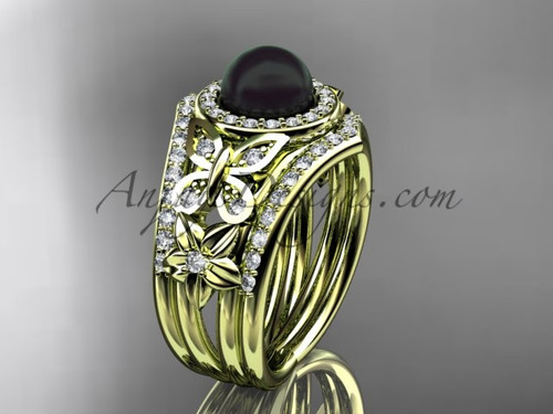 Yellow Gold Black Pearl Double Band Wedding Ring ABP524S