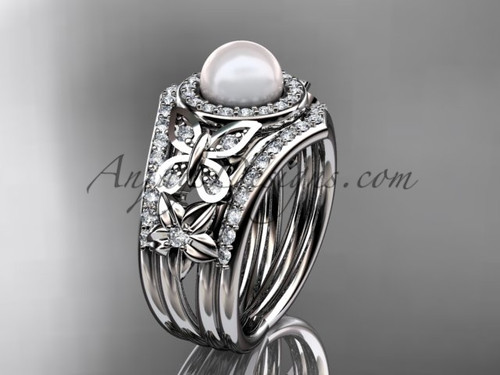 Double Band Wedding Ring Pearl White Gold Ring AP524S