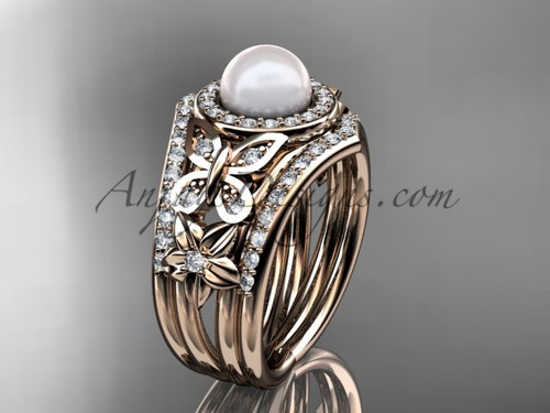 Double Band Wedding Ring Pearl Rose Gold Ring AP524S