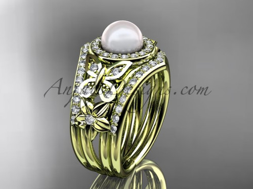 Double Band Wedding Ring Pearl Yellow Gold Ring AP524S