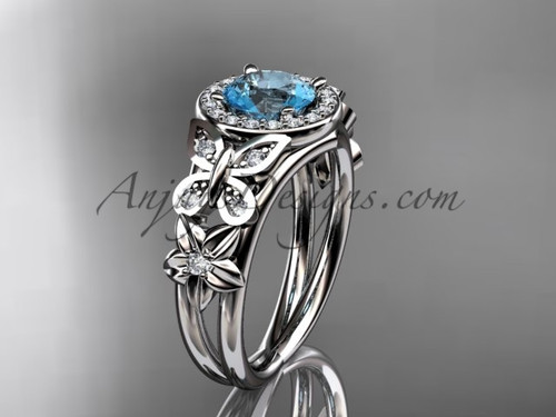 Aquamarine Engagement Rings White Gold Diamond Ring ADAM524