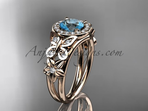 Aquamarine Engagement Rings Rose Gold Diamond Ring ADAM524