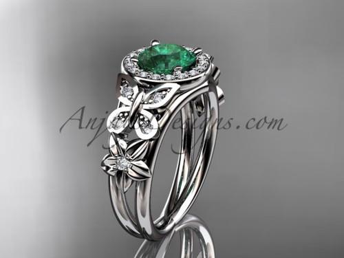 Emerald Engagement Rings White Gold Halo Diamond Ring ADEM524