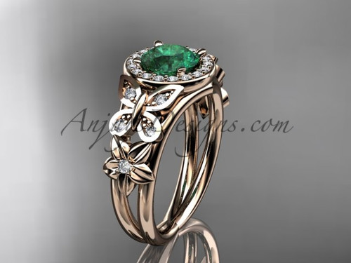 Emerald Engagement Rings Rose Gold Halo Diamond Ring ADEM524