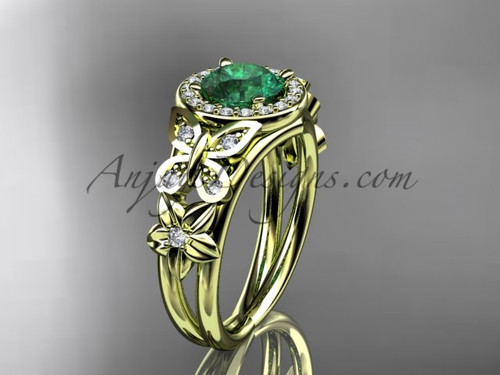 Emerald Engagement Rings Yellow Gold Halo Diamond Ring ADEM524