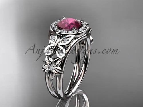Ruby Engagement Rings White Gold Halo Bridal Ring ADRB524