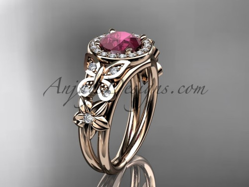 Ruby Engagement Rings Rose Gold Halo Bridal Ring ADRB524