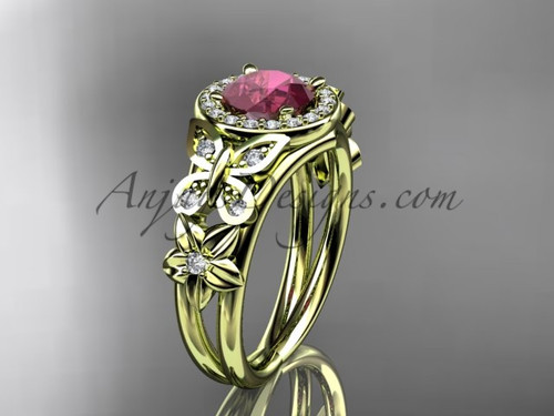 Ruby Engagement Rings Yellow Gold Halo Bridal Ring ADRB524