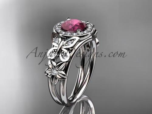 Ruby Engagement Rings Platinum Halo Bridal Ring ADRB524