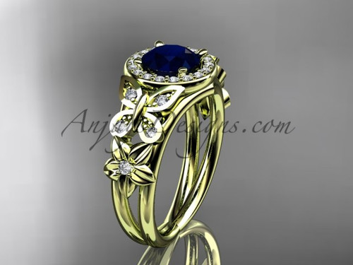 Blue Sapphire Engagement Rings Yellow Gold Halo Ring ADBS524